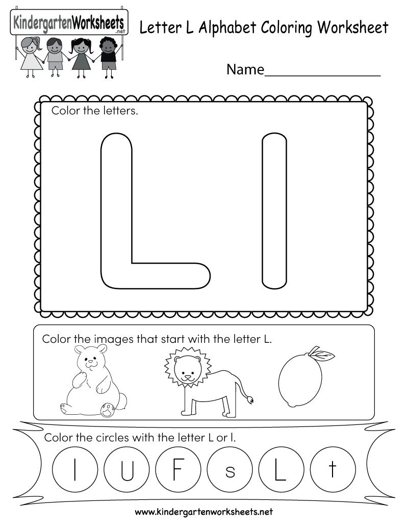 Letter L Coloring Worksheet - Free Kindergarten English inside Letter L Worksheets For Kindergarten Pdf