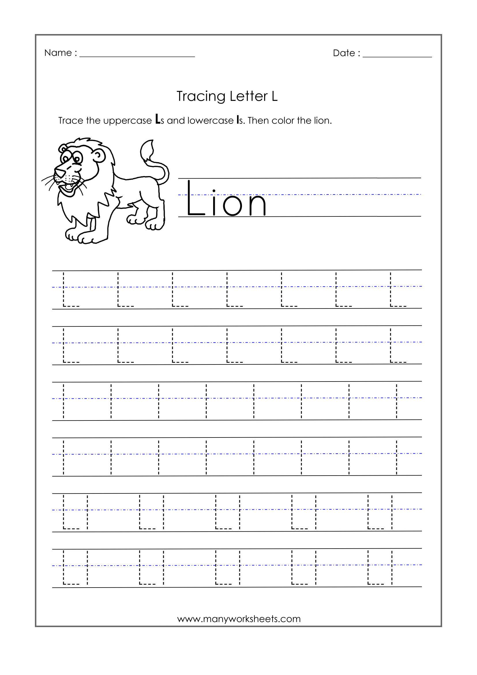 Letter L Worksheets For Kindergarten – Trace Dotted Letters intended for L Letter Tracing