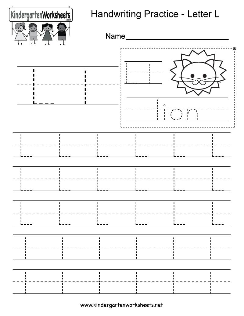 Letter L Writing Practice Worksheet - Free Kindergarten for Letter L Worksheets Tracing