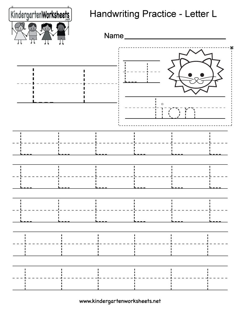 Letter L Writing Practice Worksheet - Free Kindergarten with Letter L Worksheets
