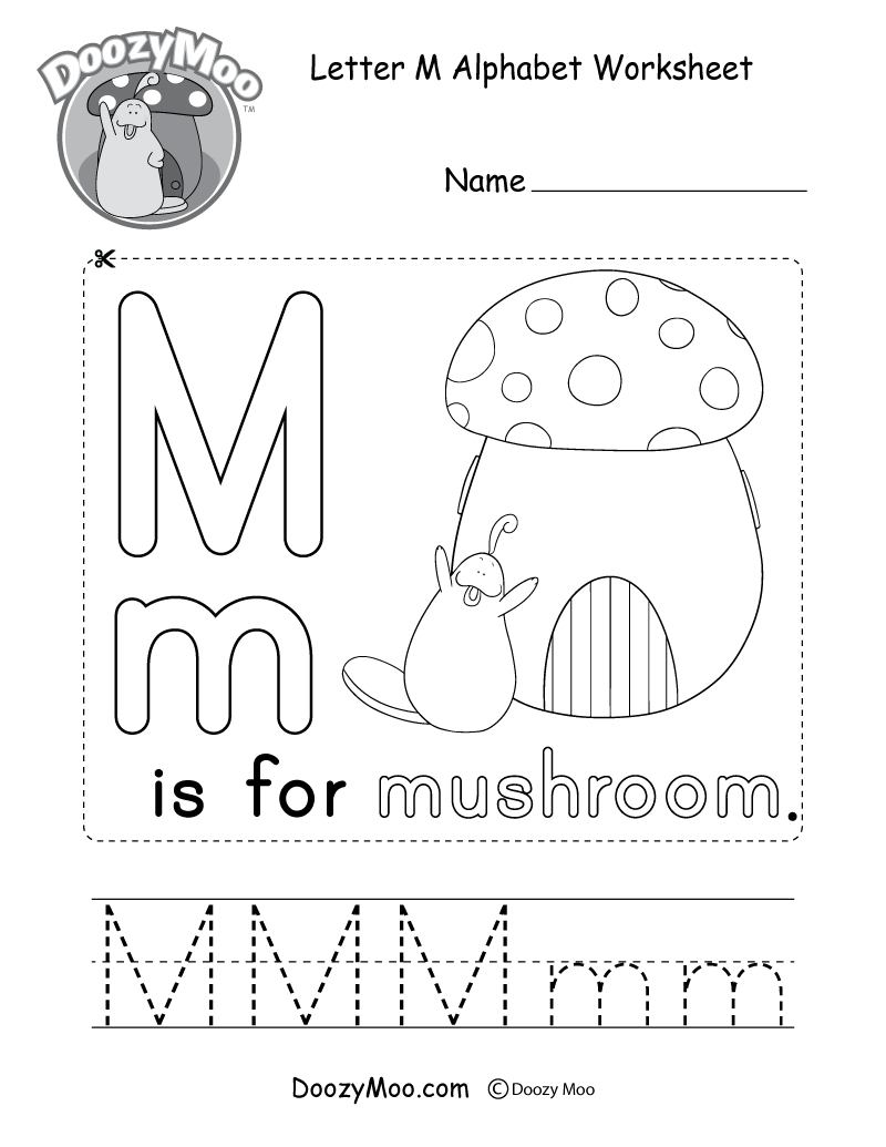 Letter M Alphabet Activity Worksheet - Doozy Moo regarding Letter M Worksheets For Kindergarten