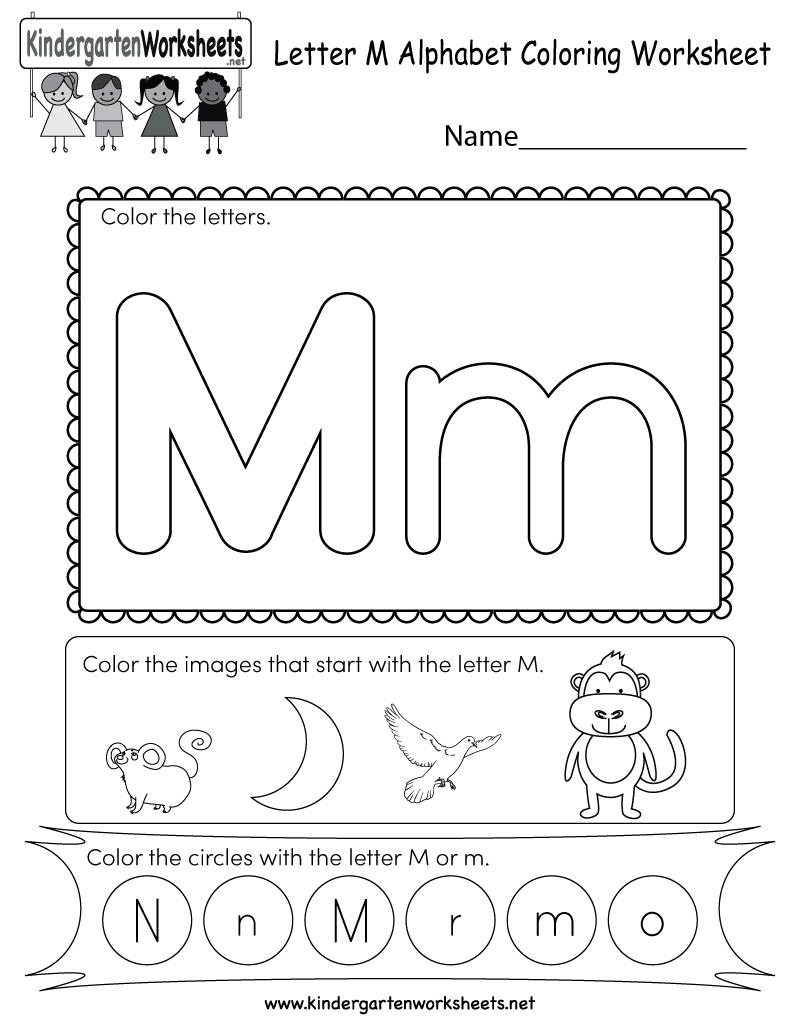 Letter M Coloring Worksheet - Free Kindergarten English in Alphabet Worksheets For Kindergarten Pdf