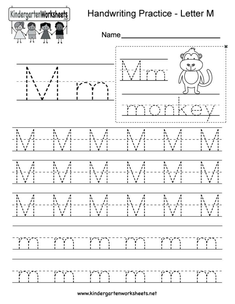 Letter M Writing Practice Worksheet   Free Kindergarten Inside Letter Writing Worksheets Pdf