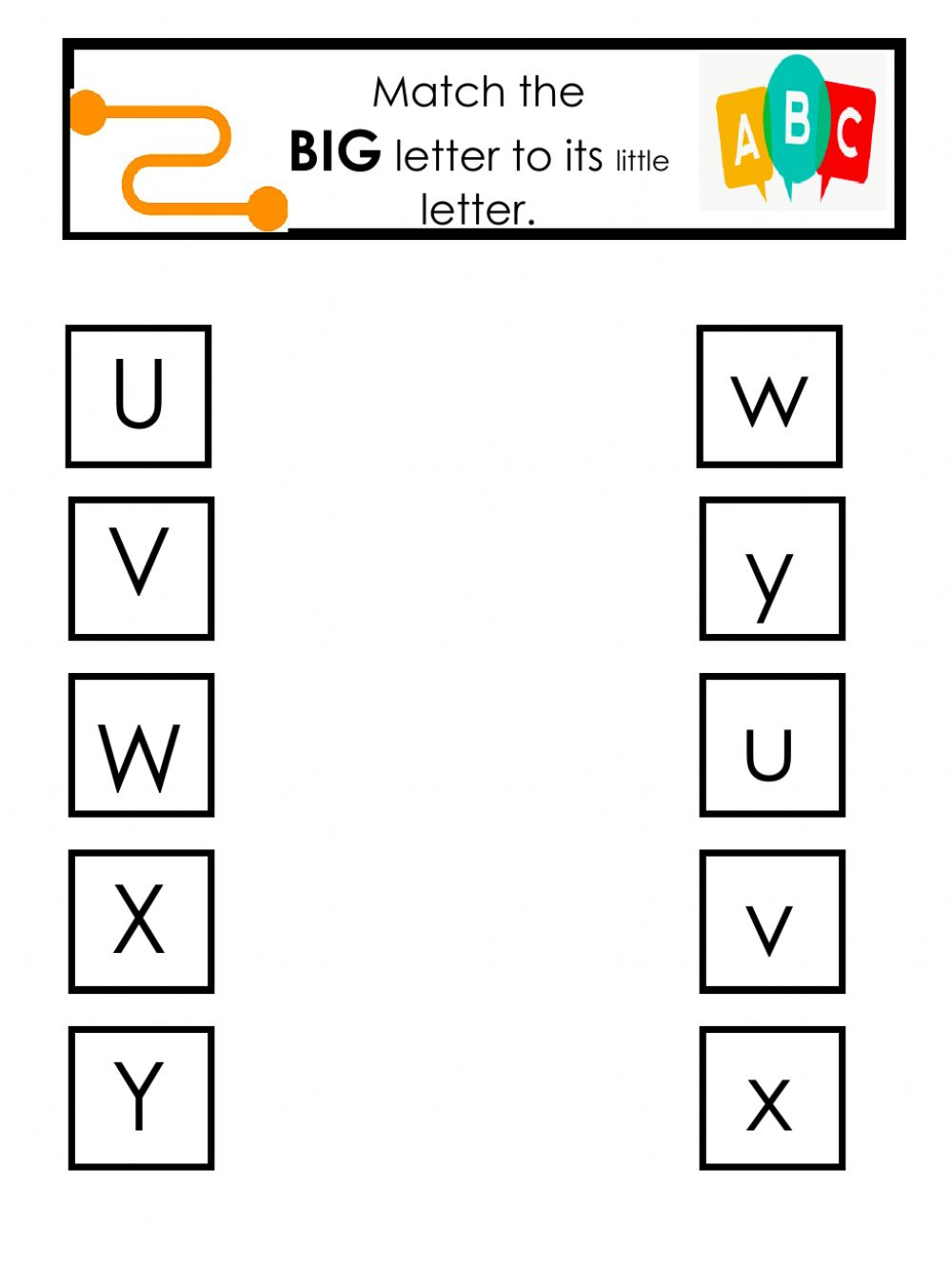 Letter Match - Interactive Worksheet intended for Alphabet Knowledge Worksheets