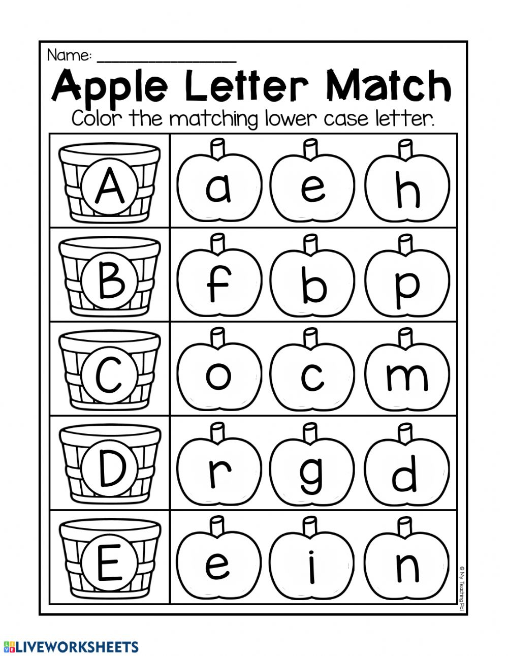 Letter Match - Interactive Worksheet regarding Letter Id Worksheets