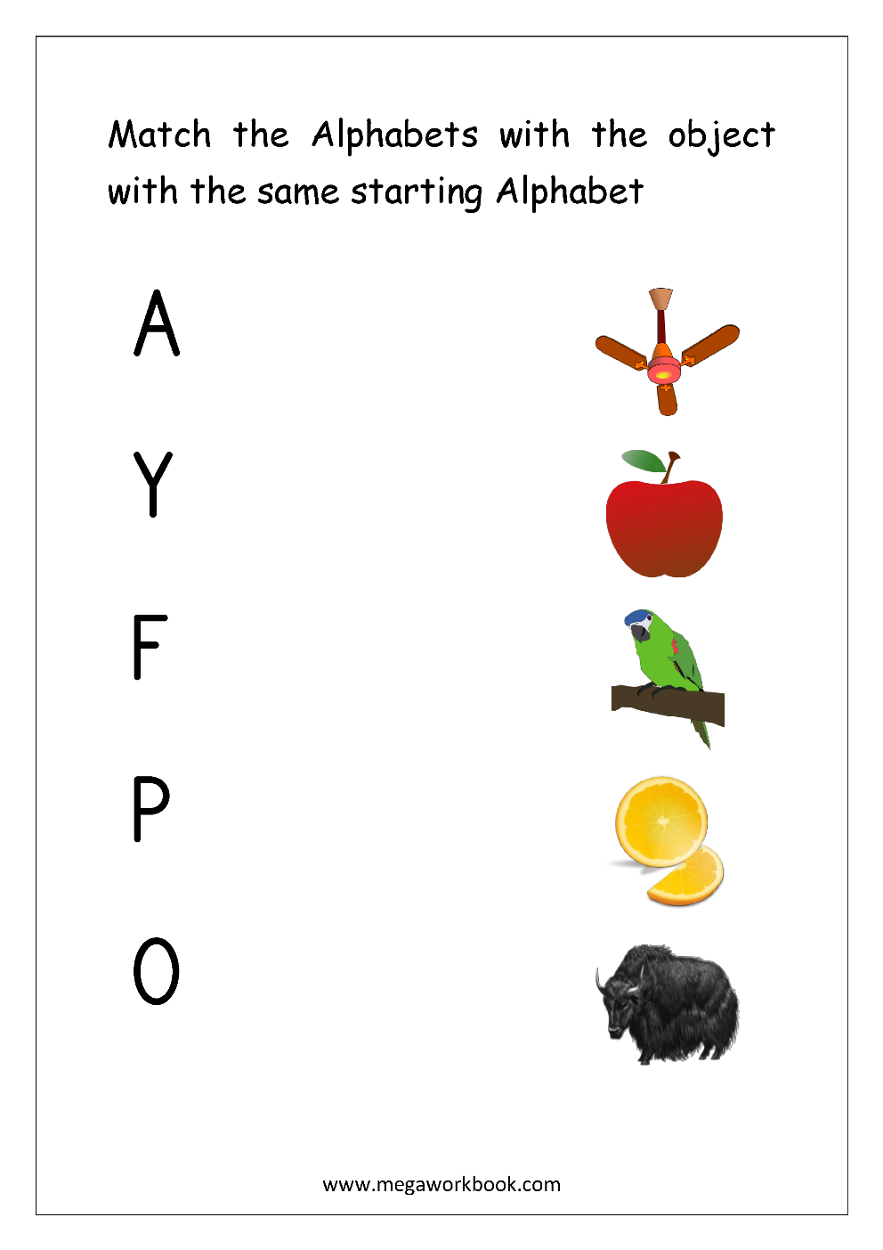 Letter Matching Worksheet - Match Object With The Starting with Alphabet Matching Worksheets With Pictures