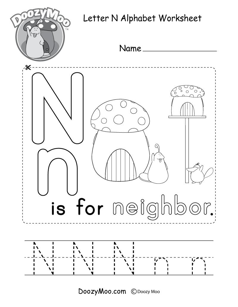 Letter N Alphabet Activity Worksheet - Doozy Moo for Letter N Worksheets