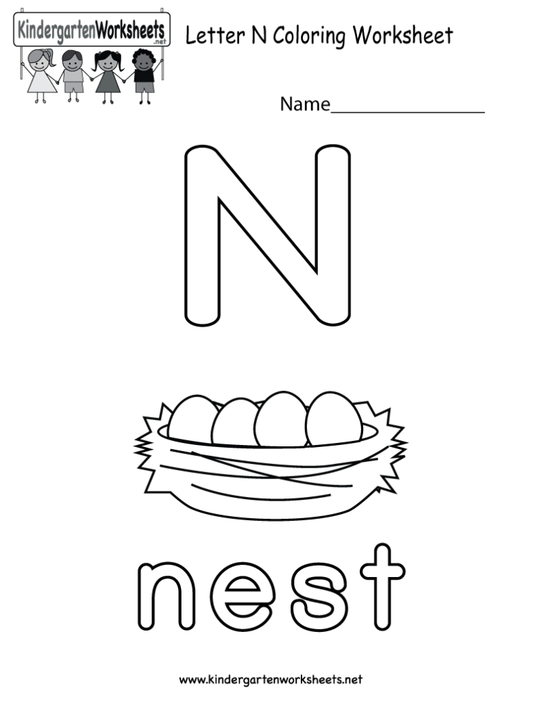 Letter N Coloring Worksheet For Preschoolers Or For Letter N Worksheets For Preschool
