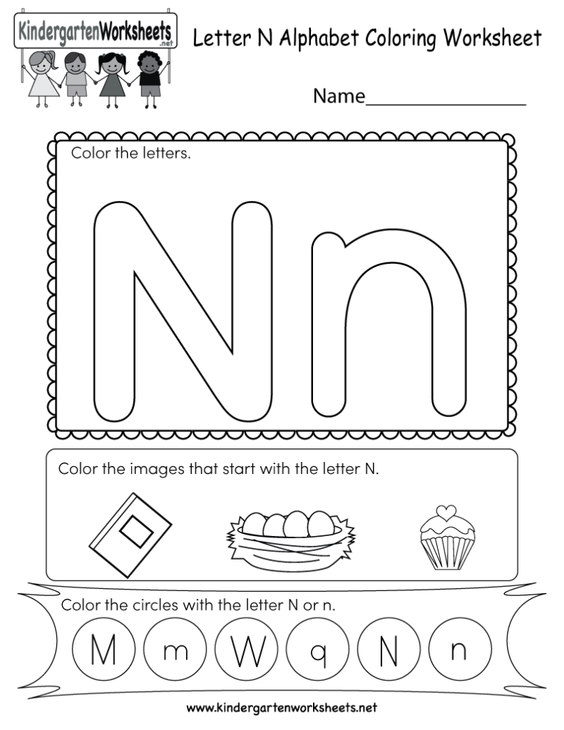 Letter N Coloring Worksheet   Free Kindergarten English Throughout Letter N Worksheets Free