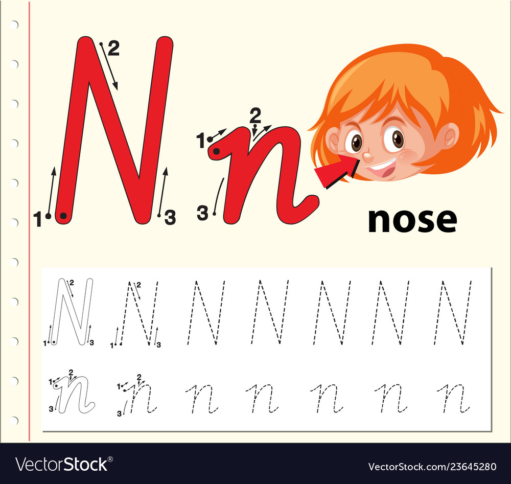 Letter N Tracing Alphabet Worksheets for Alphabet N Tracing