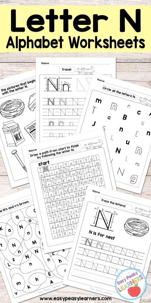Letter N Worksheets   Alphabet Series   Easy Peasy Learners In Letter N Worksheets Free