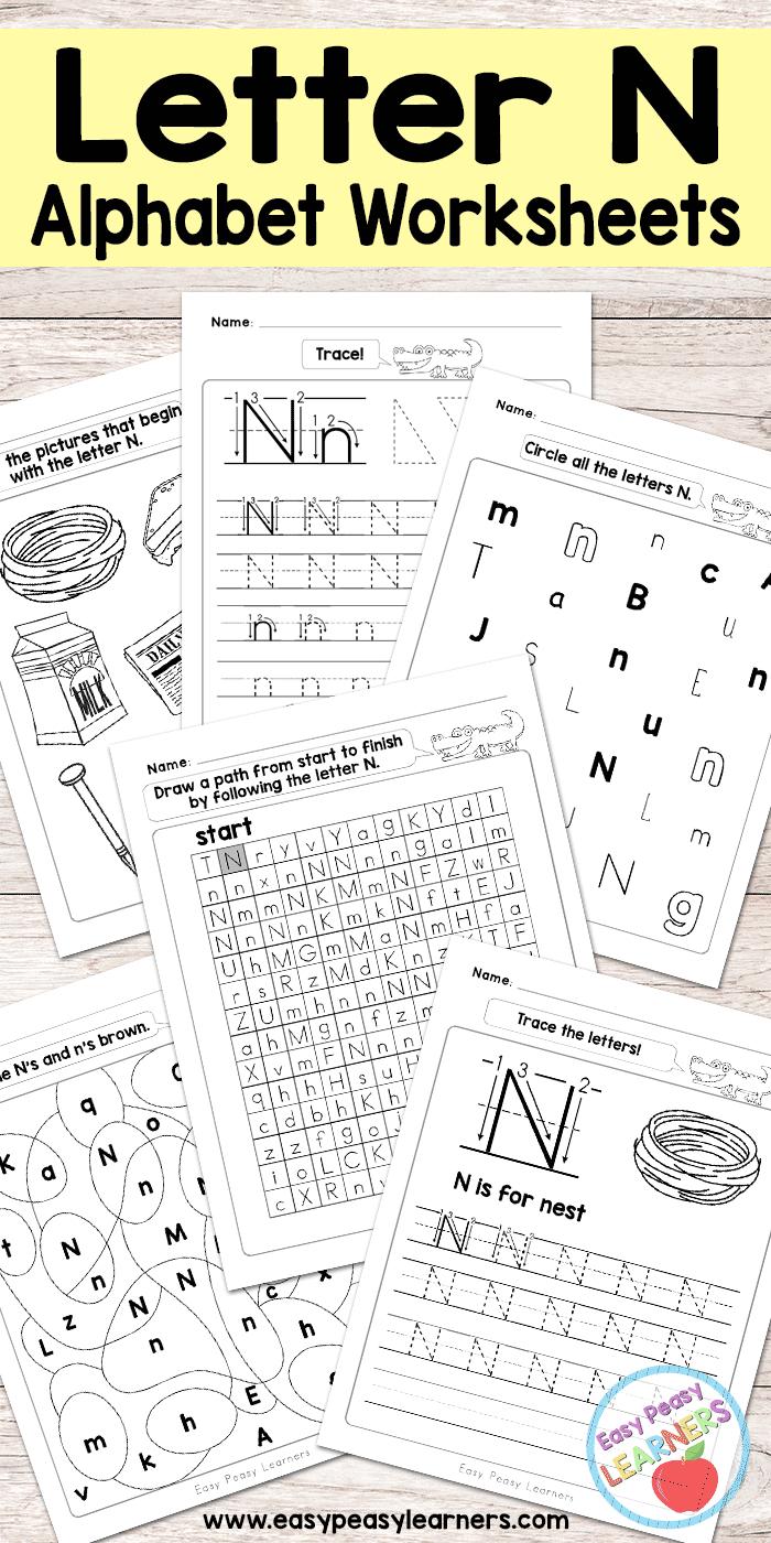 Letter N Worksheets - Alphabet Series - Easy Peasy Learners in Letter N Worksheets Free