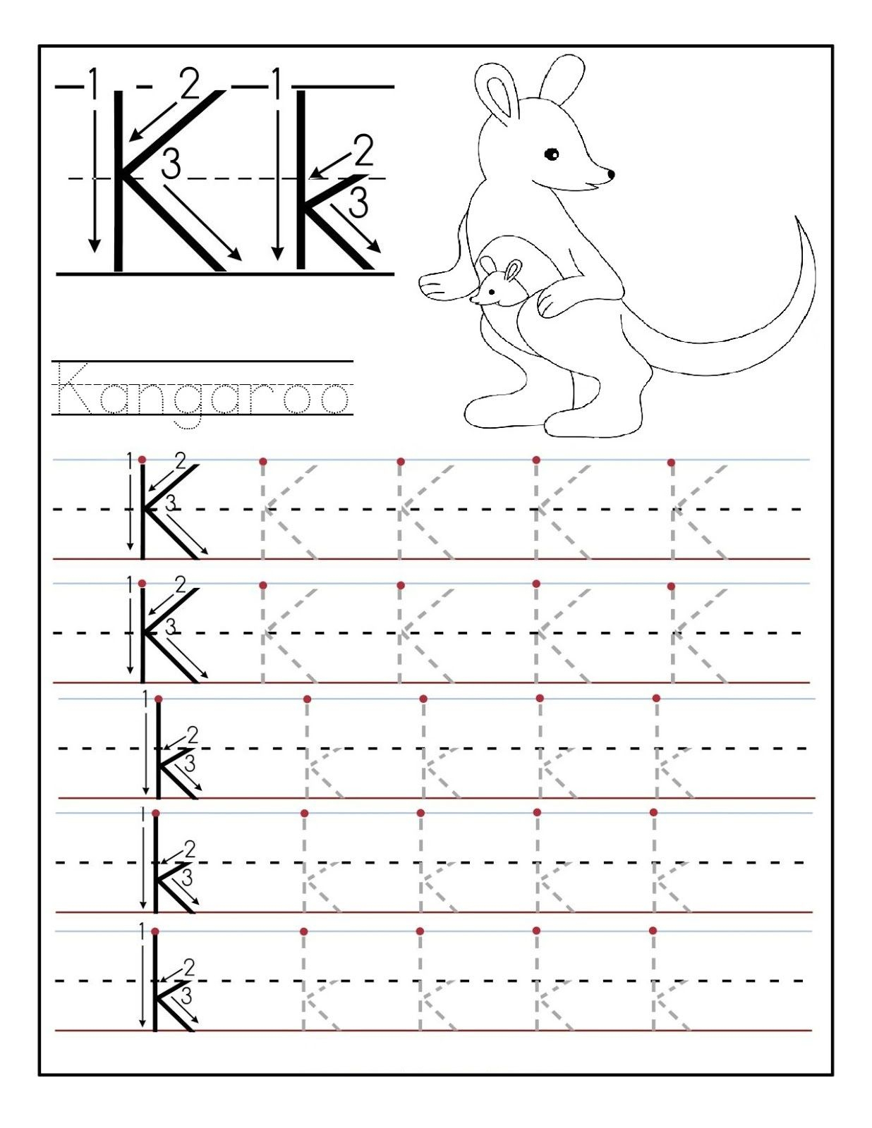 Letter N Worksheets For Preschool And Kindergarten Tracing throughout K Letter Tracing