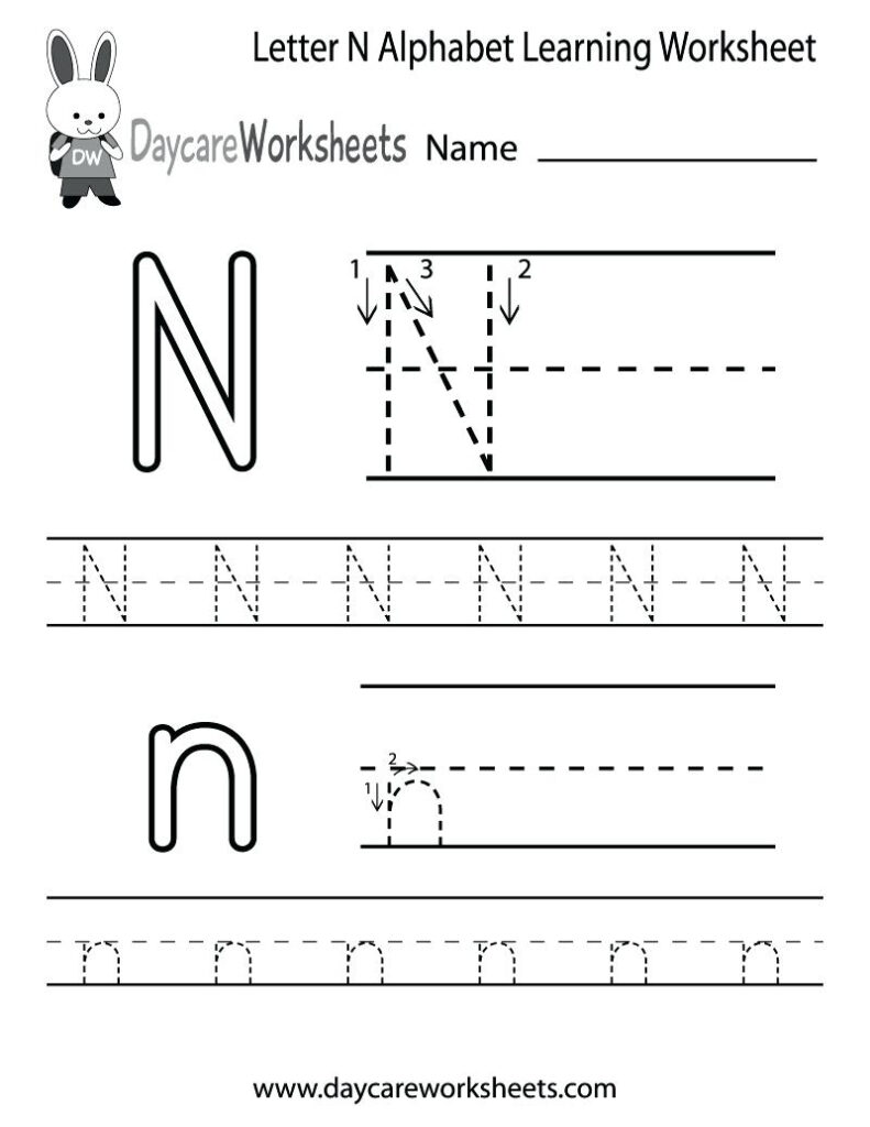 Letter N Worksheets For Preschool Letter N Activities For With Regard To Alphabet Worksheets For Preschool