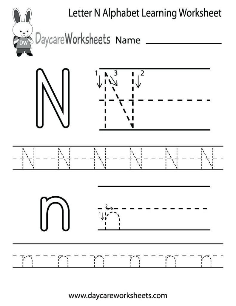 Letter N Worksheets For Preschool Letter N Uppercase And For Letter I Worksheets For Preschool Free