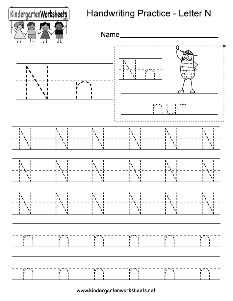 Letter N Writing Practice Worksheet   Free Kindergarten Within Letter N Tracing Worksheet