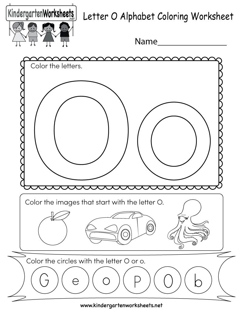 Letter O Coloring Worksheet - Free Kindergarten English intended for Letter G Worksheets For Kindergarten Pdf