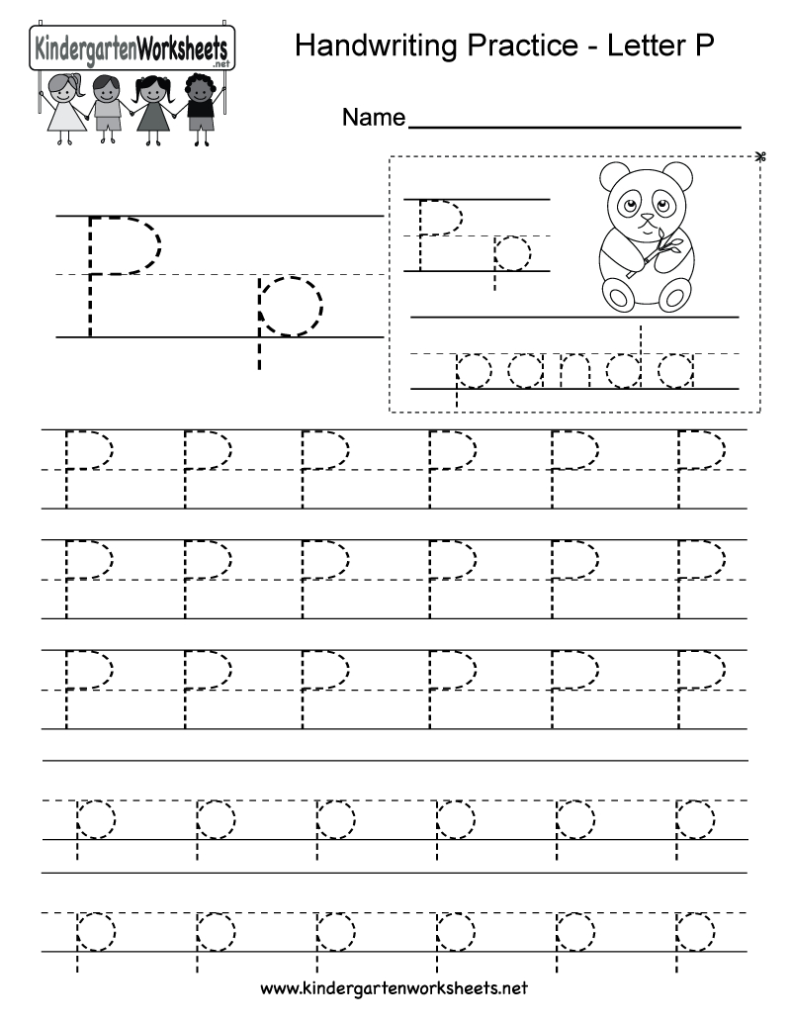 Letter P Writing Worksheet For Kindergarteners. This Series Inside Letter P Tracing Sheet