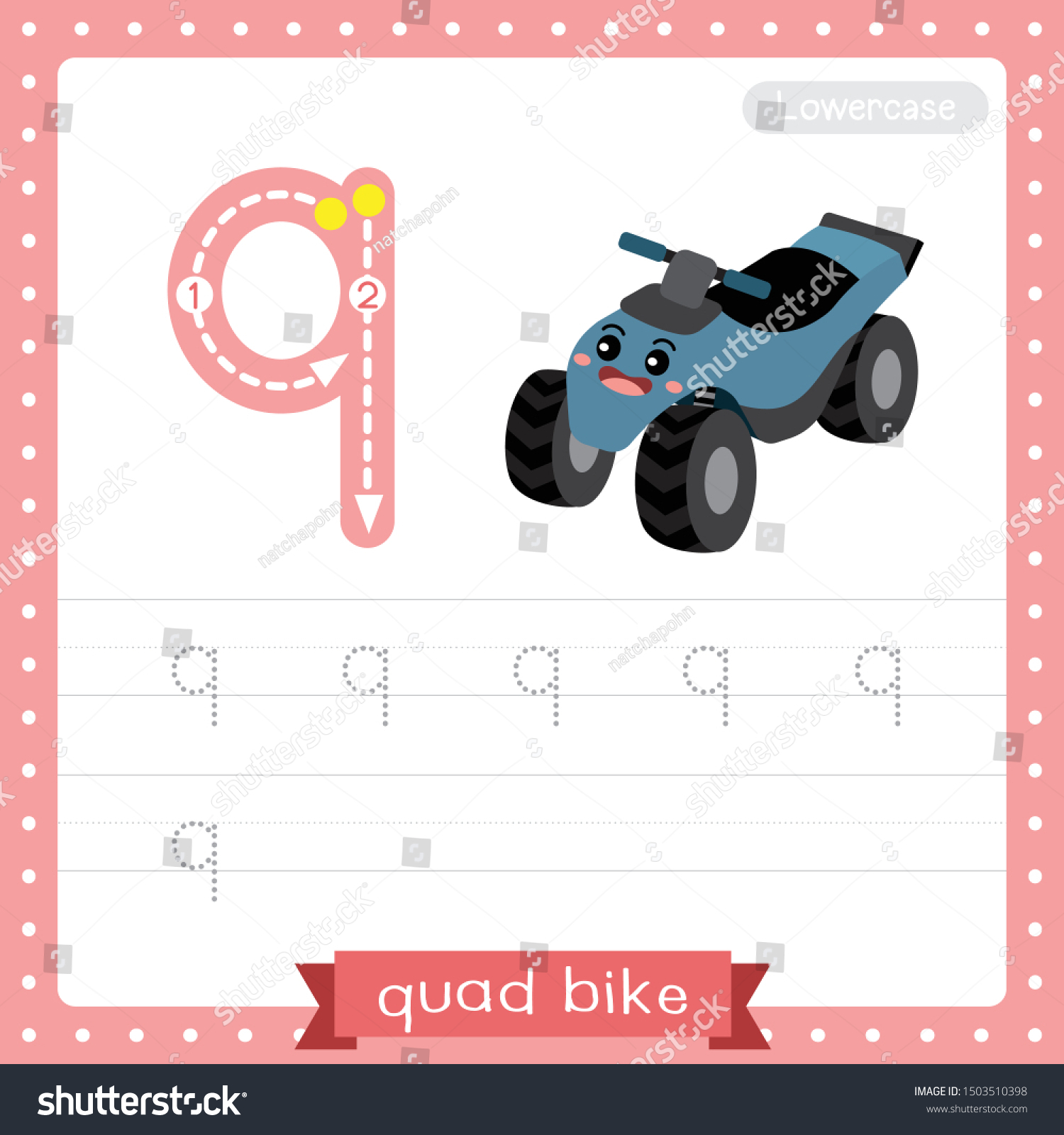 Letter Q Lowercase Cute Children Colorful Stock Vector pertaining to Q Toys Alphabet Tracing