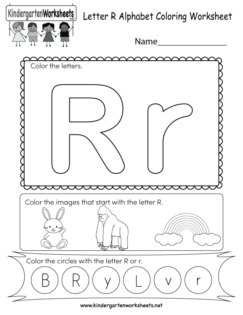 Letter R Coloring Worksheet   Free Kindergarten English In Letter R Worksheets Free