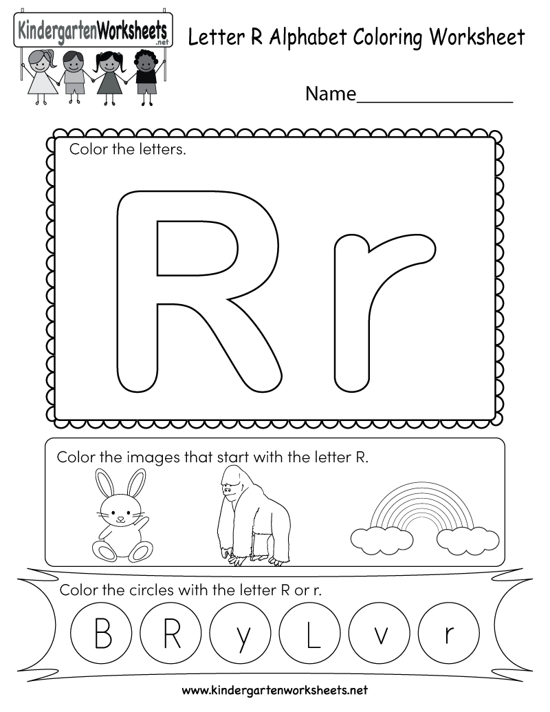 Letter R Coloring Worksheet - Free Kindergarten English in Letter R Worksheets Free