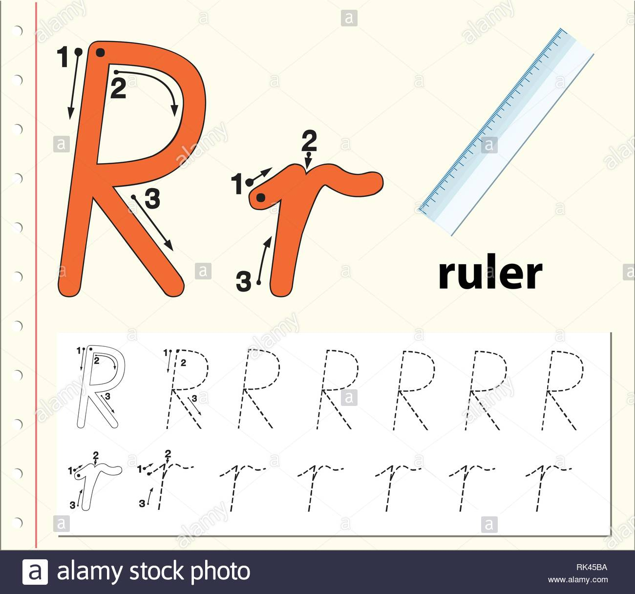 Letter R Tracing Alphabet Worksheets Illustration Stock with regard to Letter Tracing Ruler