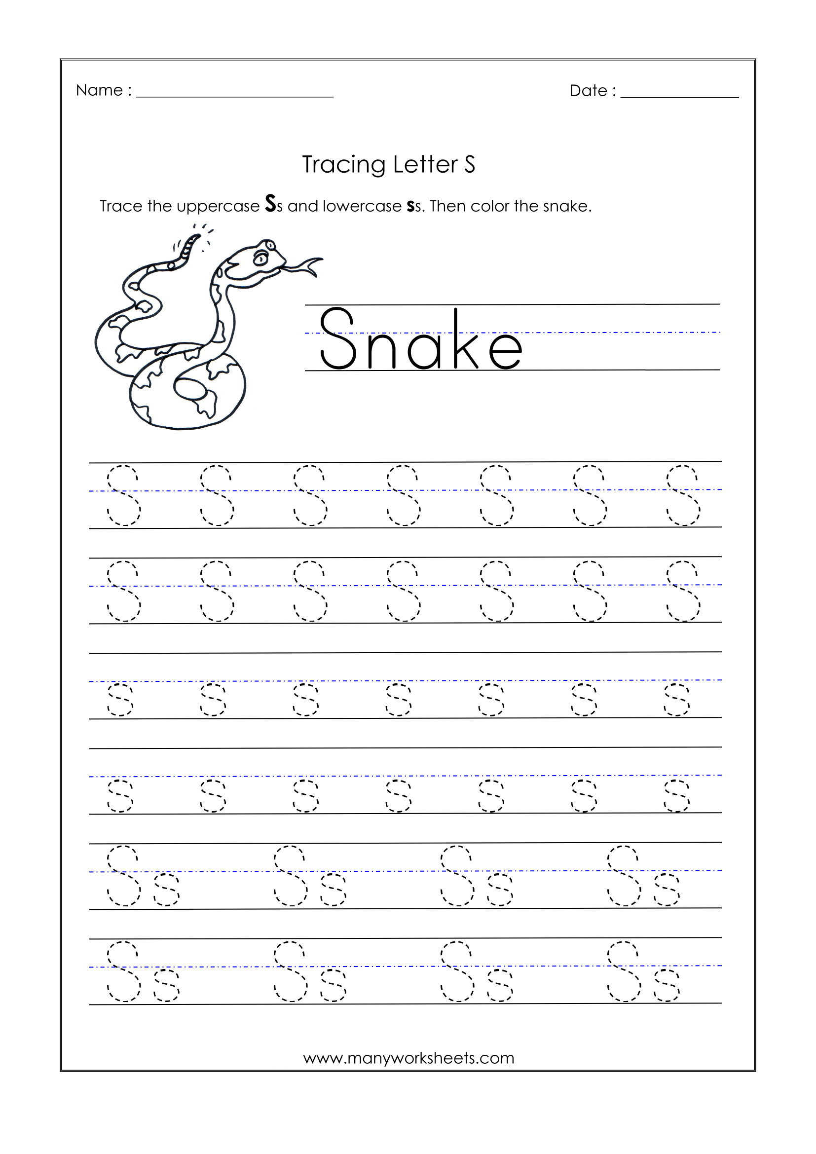 Letter S Tracing Worksheets For Kindergarten لم يسبق له مثيل within S Letter Tracing Worksheet