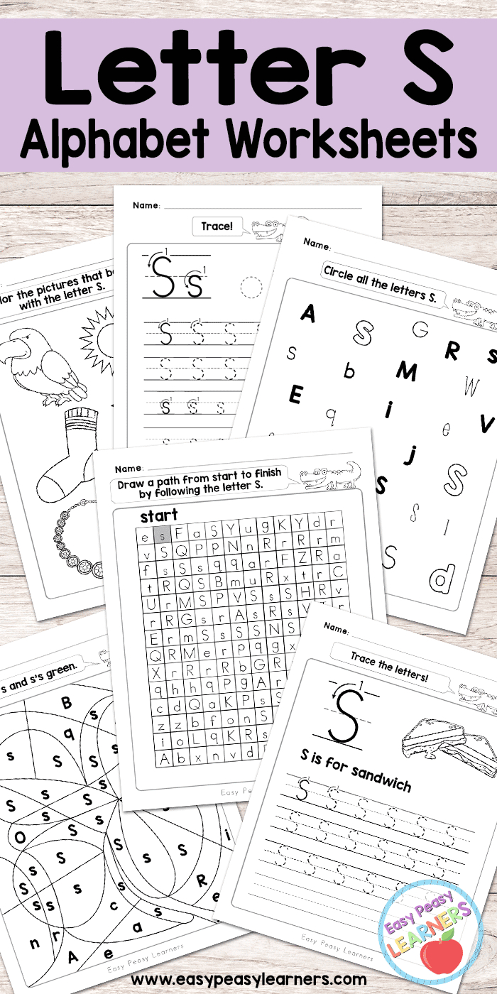 Letter S Worksheets - Alphabet Series - Easy Peasy Learners in Letter A Worksheets Free Printables