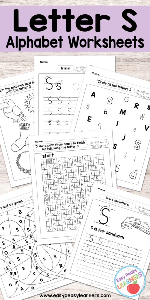 Letter S Worksheets   Alphabet Series   Easy Peasy Learners Pertaining To Alphabet Worksheets Free