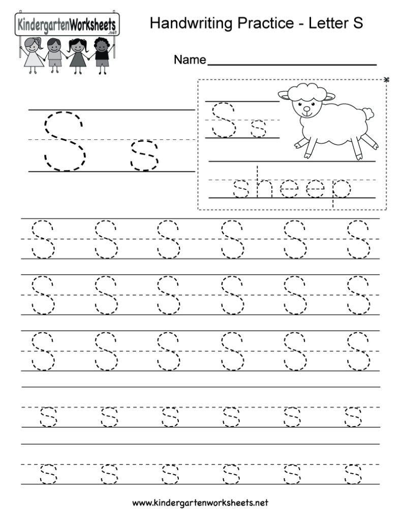 Letter S Writing Practice Worksheet   Free Kindergarten For Letter S Worksheets Pdf