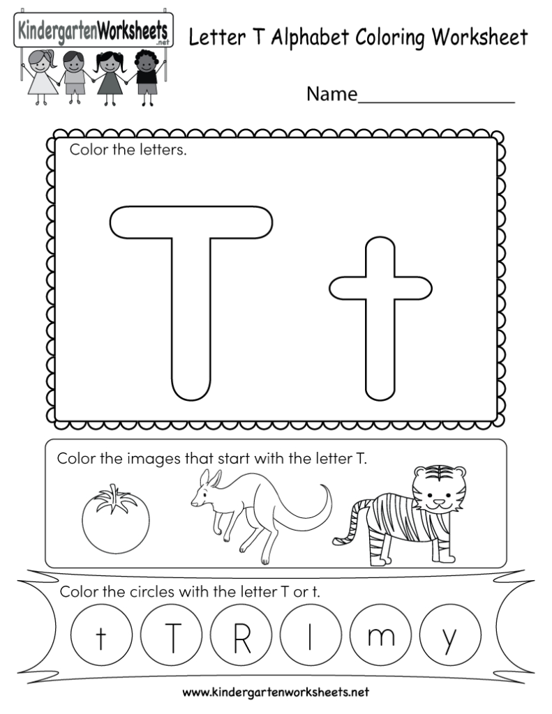 Letter T Coloring Worksheet   Free Kindergarten English Intended For T Letter Worksheets Kindergarten