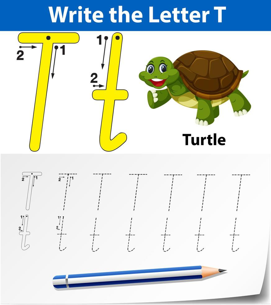 Letter T Tracing Alphabet Worksheets - Download Free Vectors intended for Letter Tracing Vector