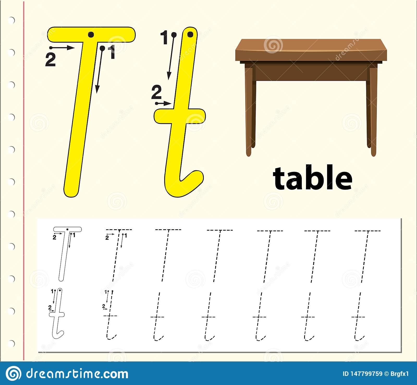 Letter T Tracing Alphabet Worksheets Stock Vector regarding Alphabet Tracing Tablet