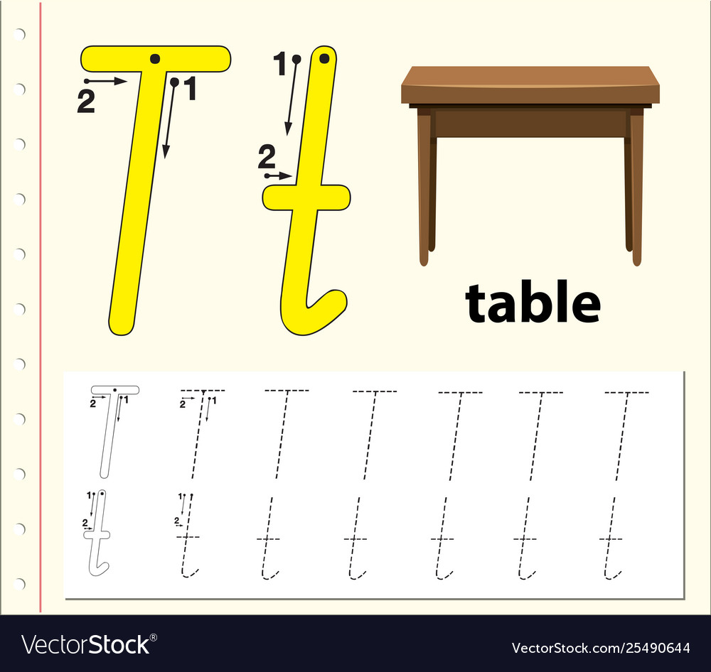 Letter T Tracing Alphabet Worksheets with regard to T Letter Tracing