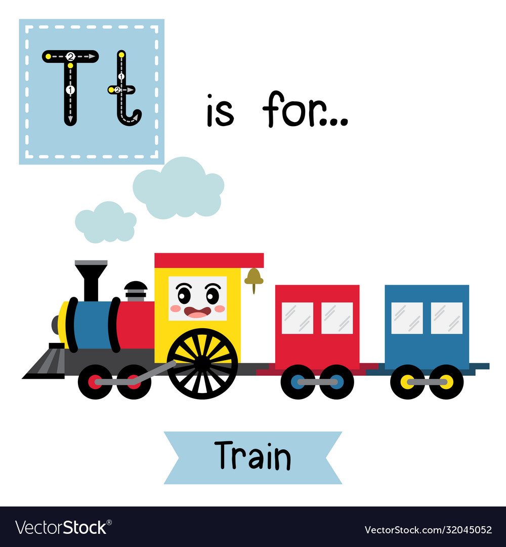 Letter T Tracing Train regarding Alphabet Tracing Train