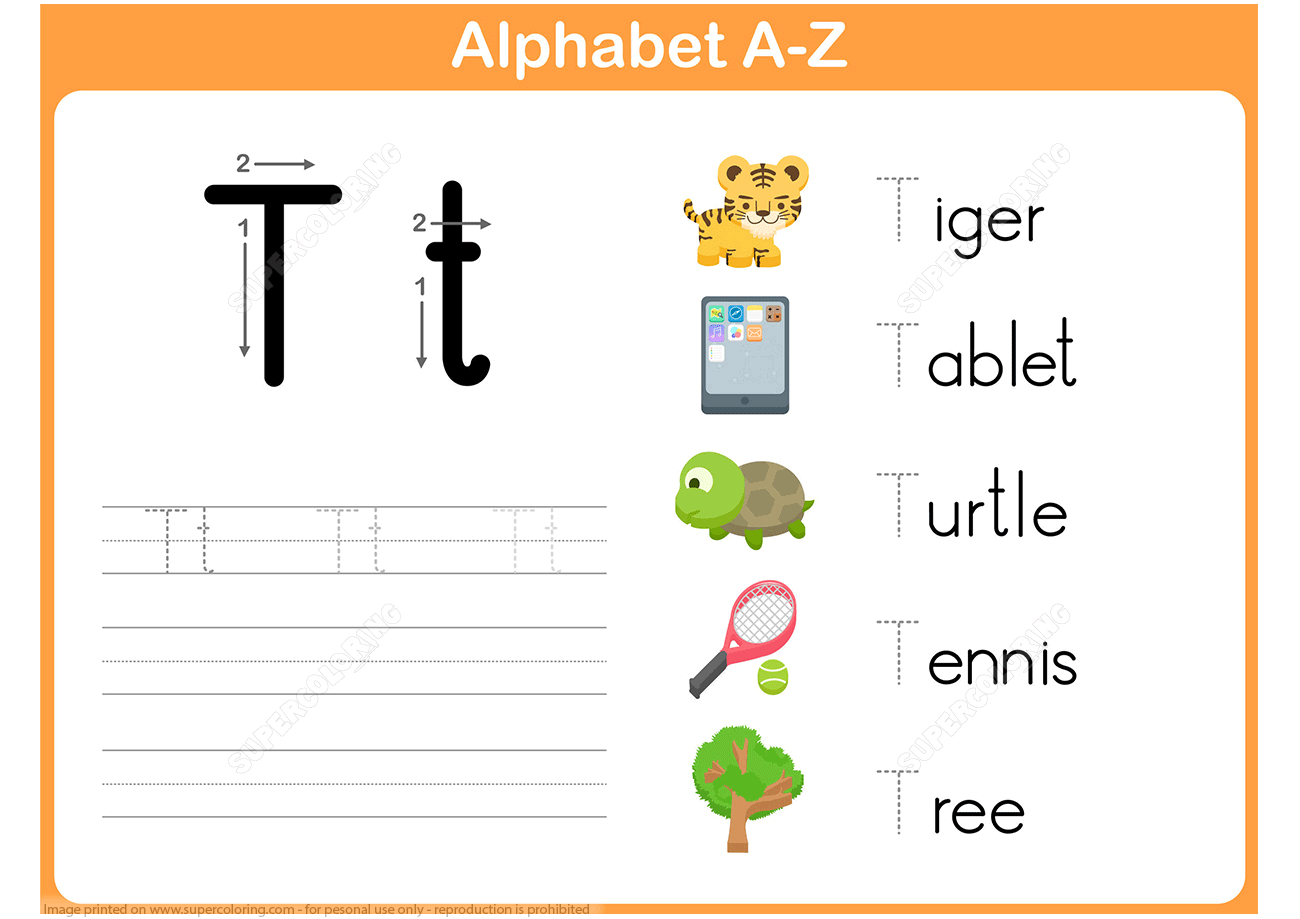 Letter T Tracing Worksheet From Handwriting Worksheets pertaining to Alphabet Tracing Puzzle