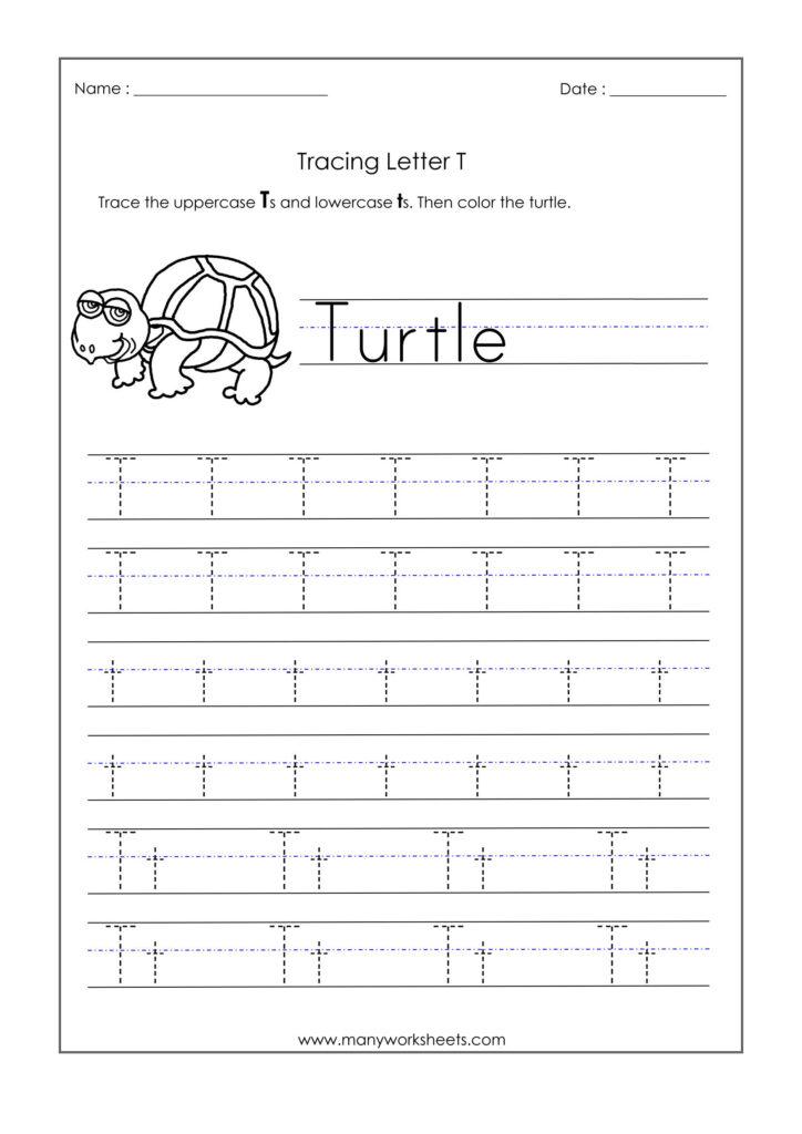 Letter T Worksheets For Kindergarten – Trace Dotted Letters Inside Alphabet T Tracing