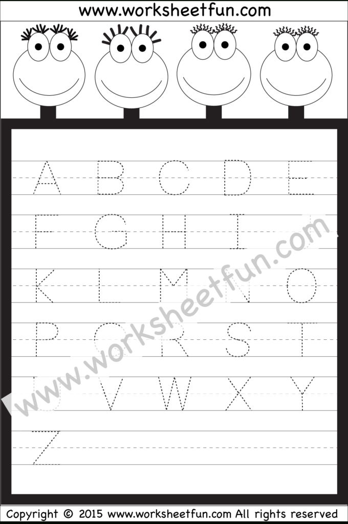 Letter Tracing Worksheet – Capital Letters / Free Printable For Alphabet Worksheets For Kindergarten A To Z Pdf