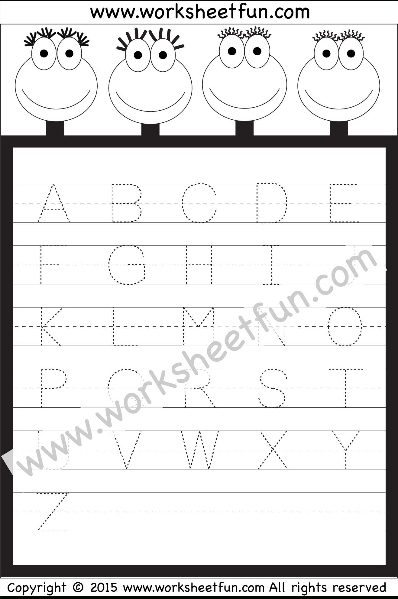 Letter Tracing Worksheet – Capital Letters / Free Printable in Letter Tracing 1St Grade