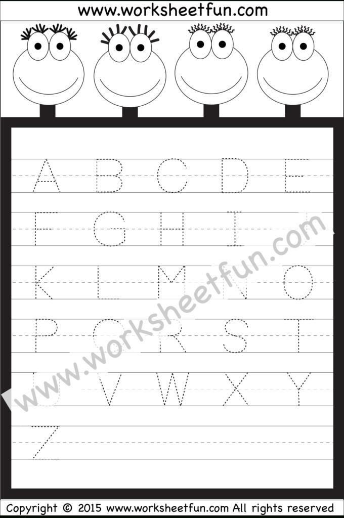 Letter Tracing Worksheet – Capital Letters / Free Printable Regarding Alphabet Worksheets Pdf Free Download