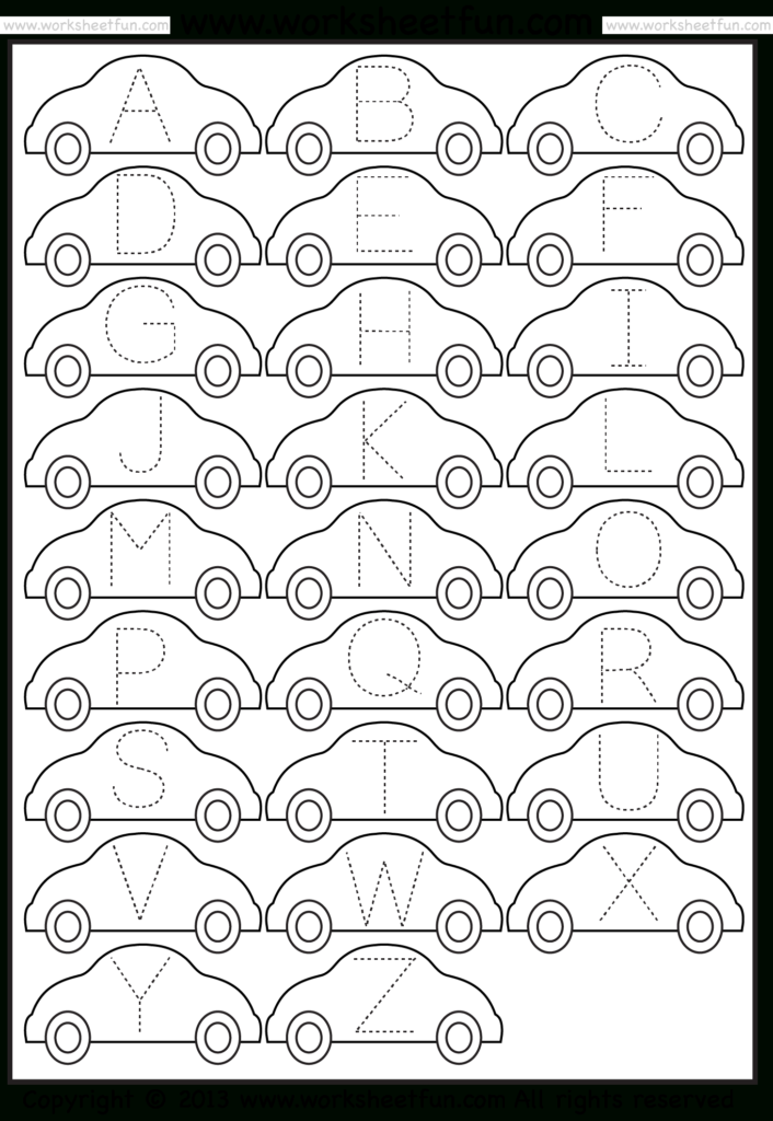 Letter Tracing Worksheet – Car / Free Printable Worksheets Regarding Alphabet Tracing For Grade 1
