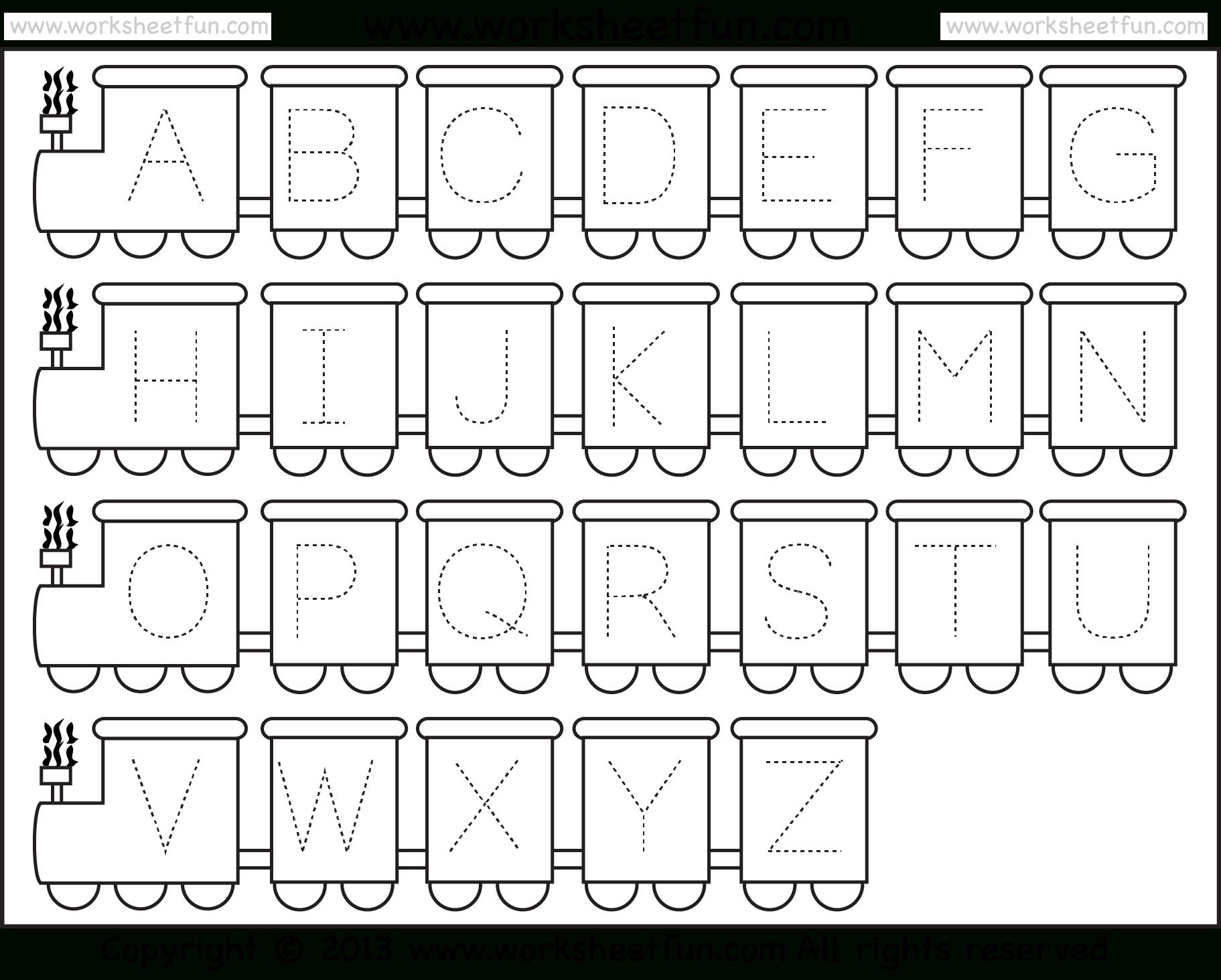 Letter Tracing Worksheet – Train Theme / Free Printable in Alphabet Worksheets Preschool Pdf