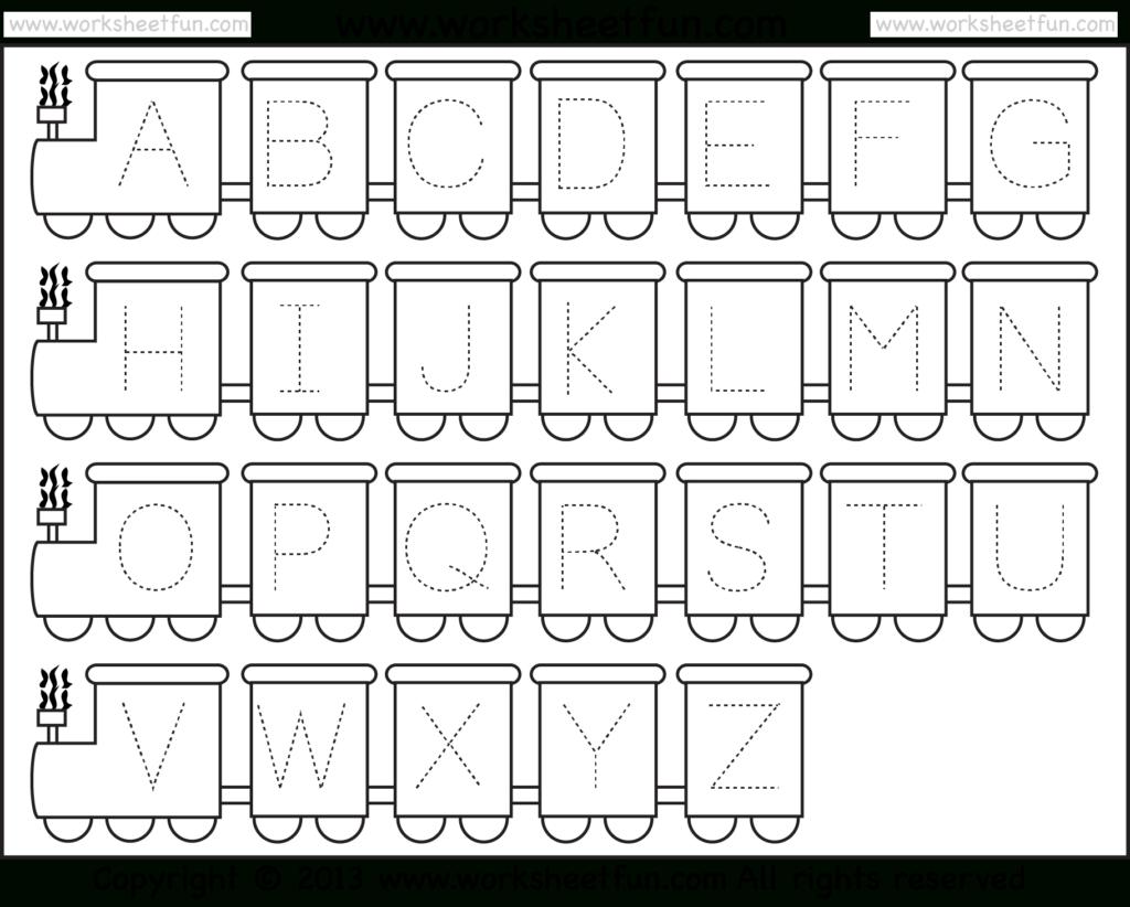 Letter Tracing Worksheet – Train Theme / Free Printable Regarding Pre K Alphabet Tracing Worksheets