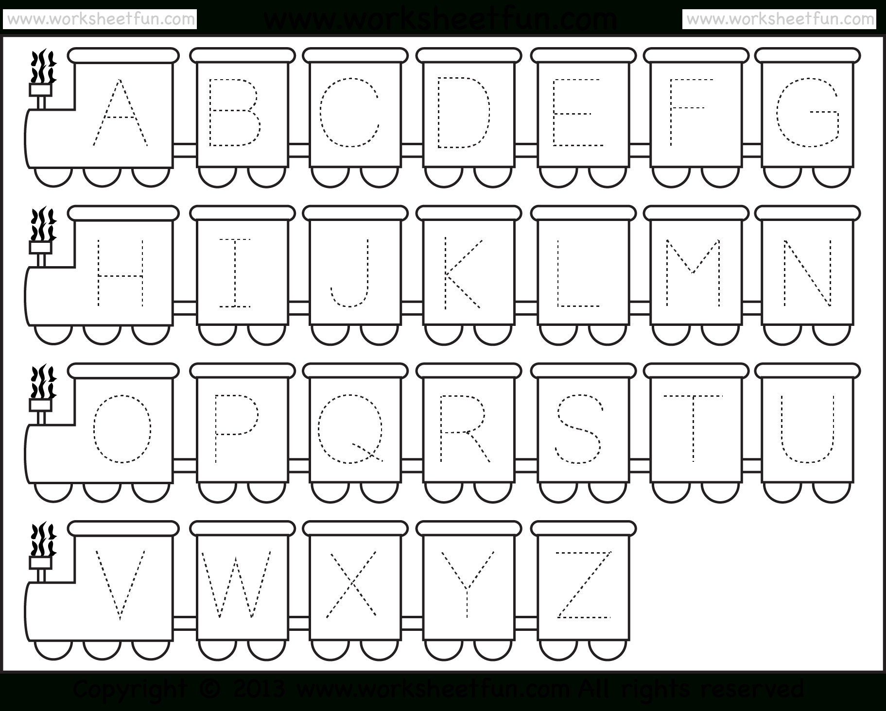 Letter Tracing Worksheet – Train Theme / Free Printable throughout Alphabet Worksheets For Kindergarten Pdf