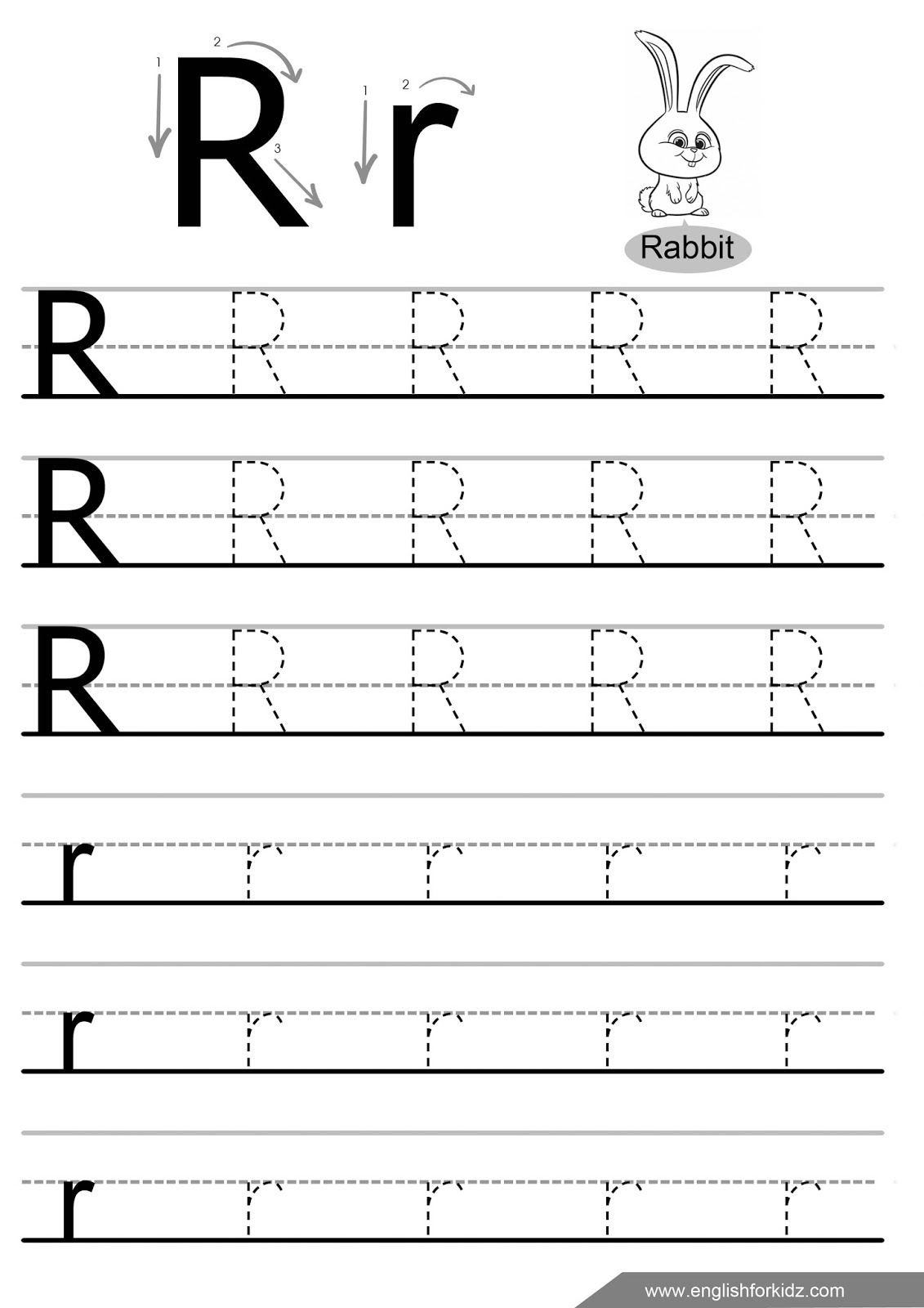 Letter Tracing Worksheets (Letters K - T) throughout Alphabet R Tracing