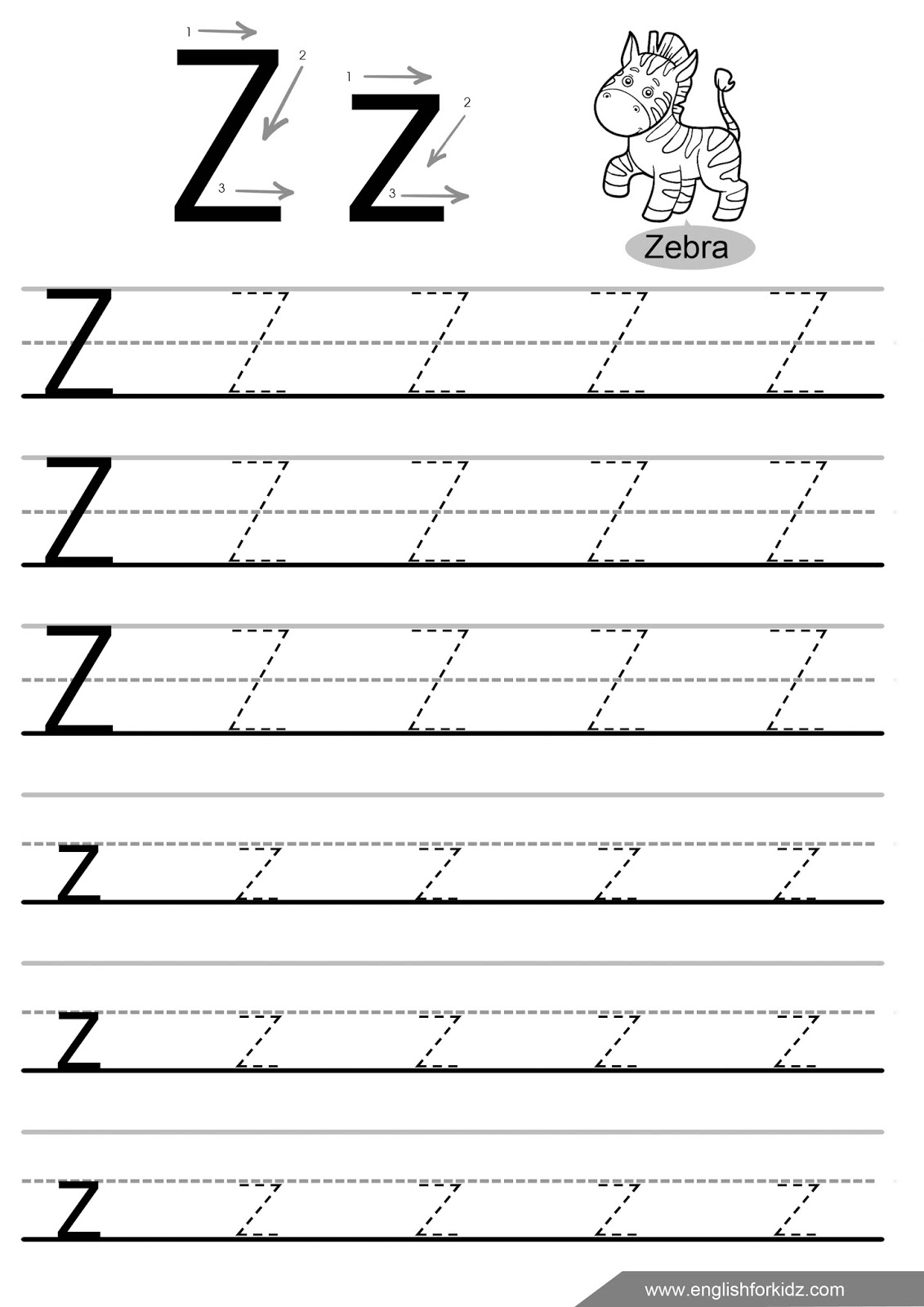 Letter Tracing Worksheets (Letters U - Z) pertaining to Z Letter Tracing