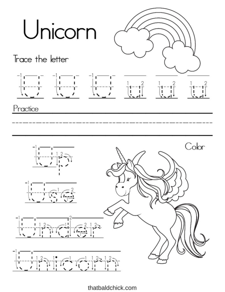Letter U Alphabet Writing Practice   That Bald Chick® Pertaining To Letter U Tracing Page