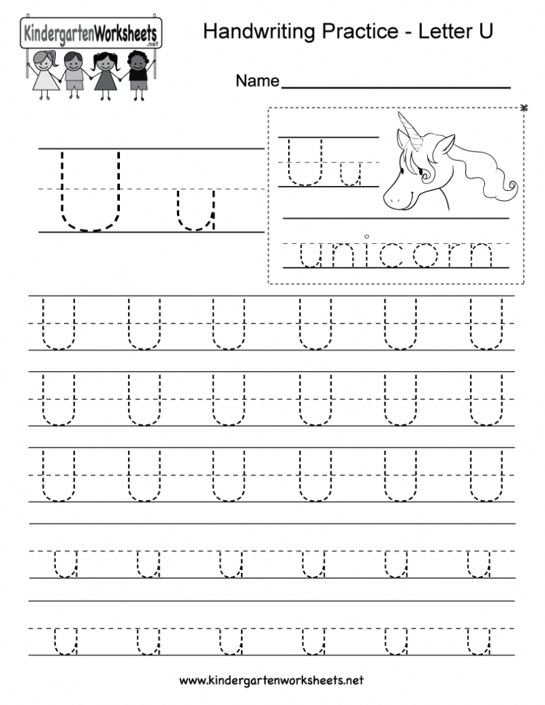 Letter U Handwriting Worksheet For Kindergarteners. This Throughout Letter U Tracing Worksheet Free