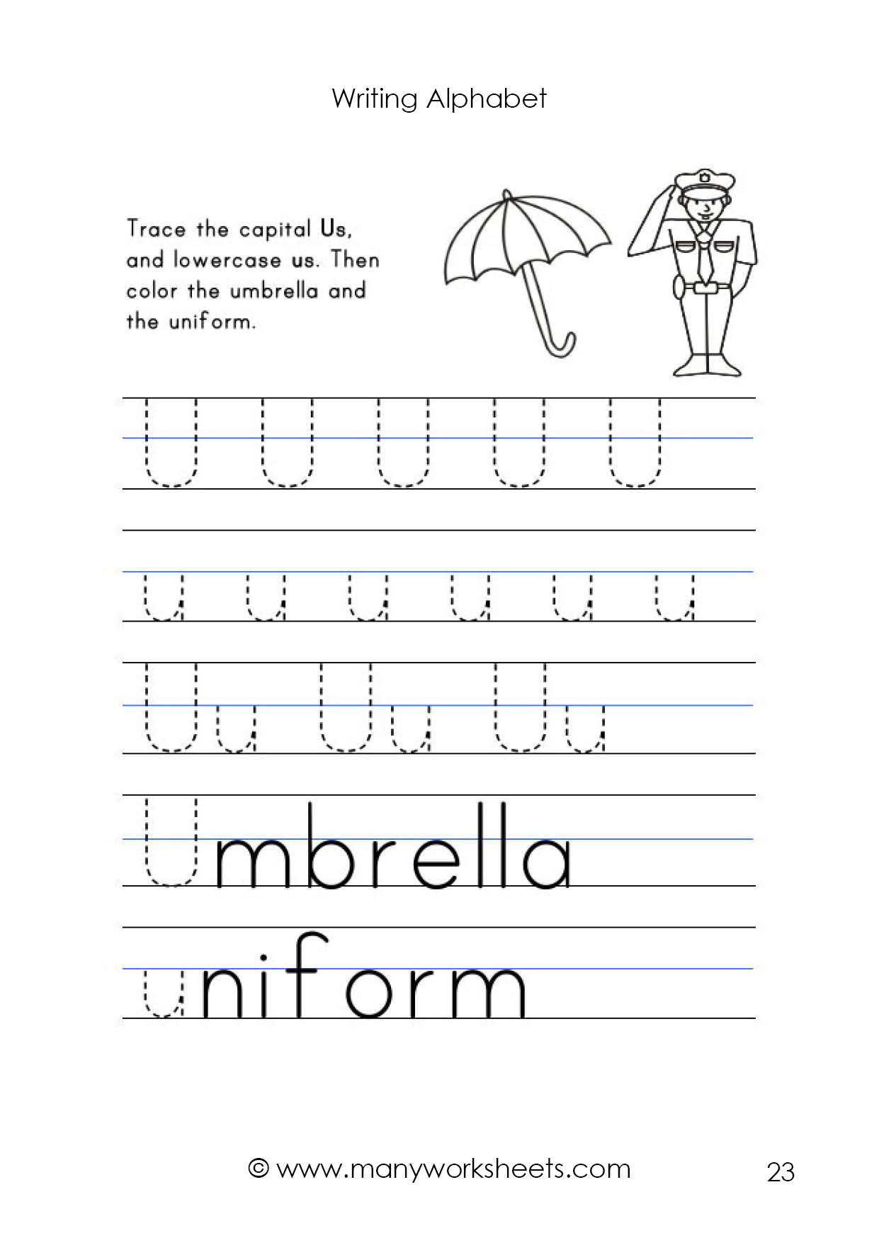 Letter U Worksheet – Tracing And Handwriting for Upper And Lowercase Alphabet Tracing