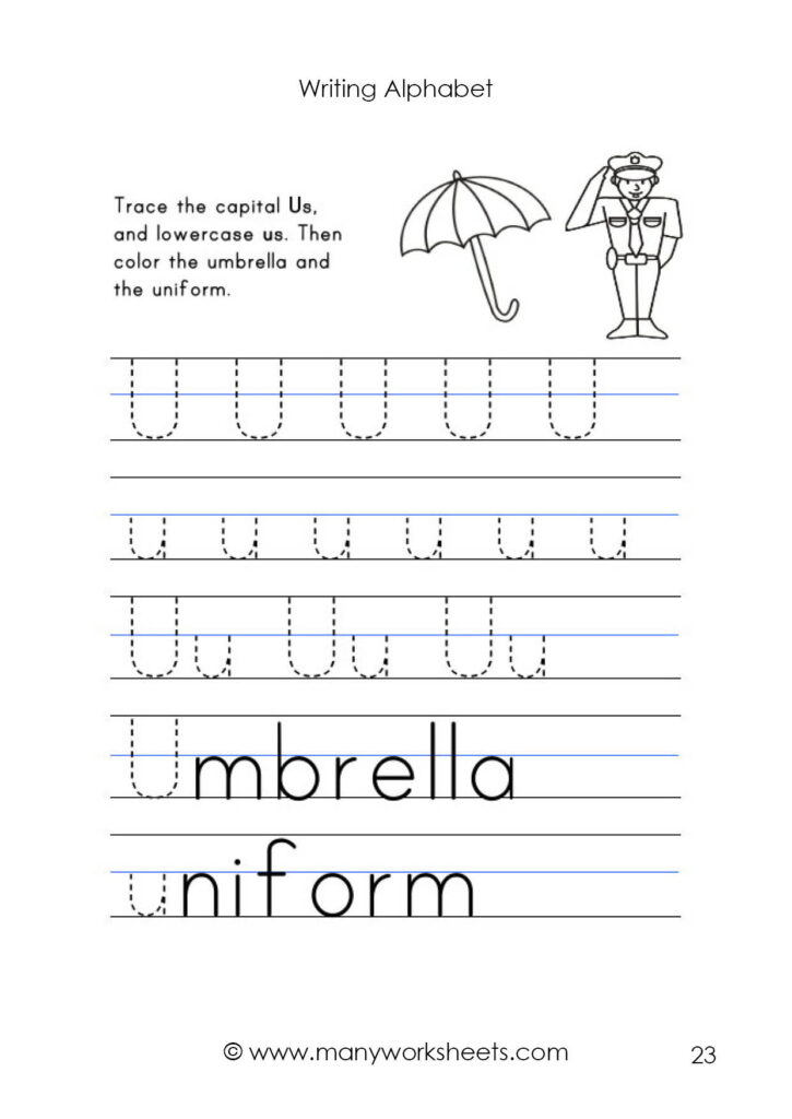 Letter U Worksheet – Tracing And Handwriting With Uppercase Alphabet Tracing